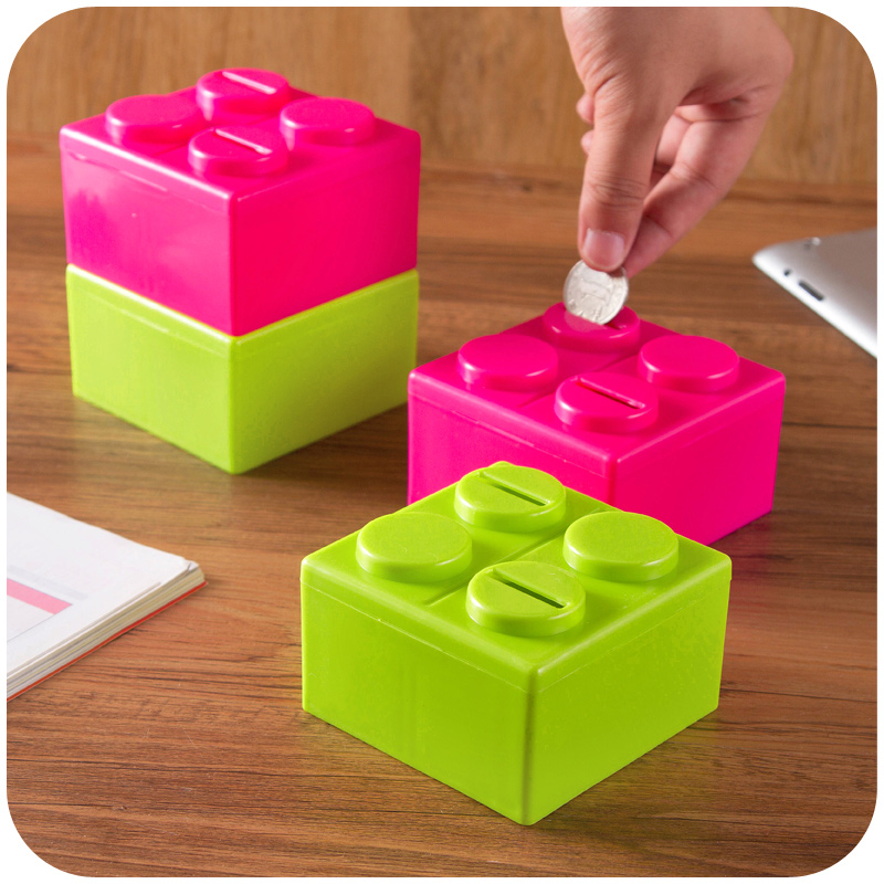 2015 fancy toy free combination plastic square money box coin bank piggy bank saving(China (Mainland))