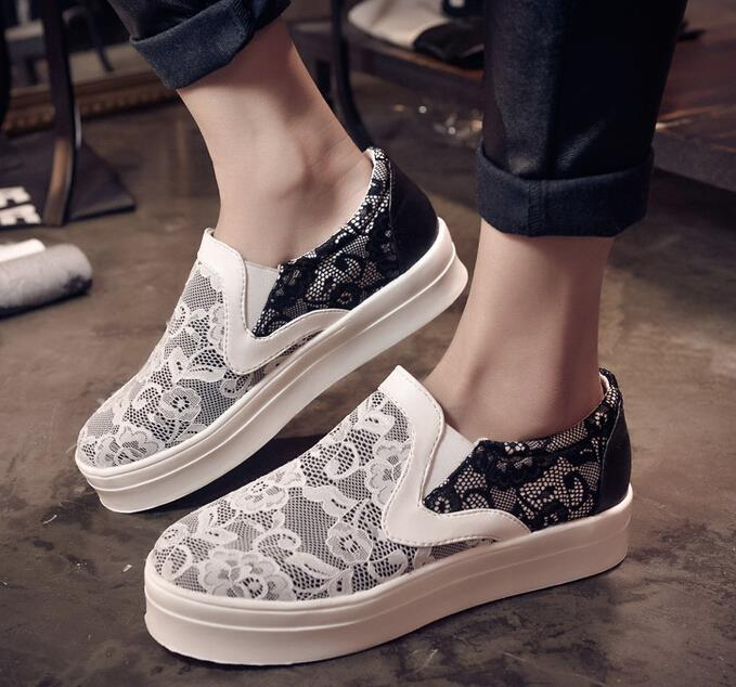 vintage Woman sneakers flower printing canvas shoes woman breathable women lace flats running - Die Katze-2 store