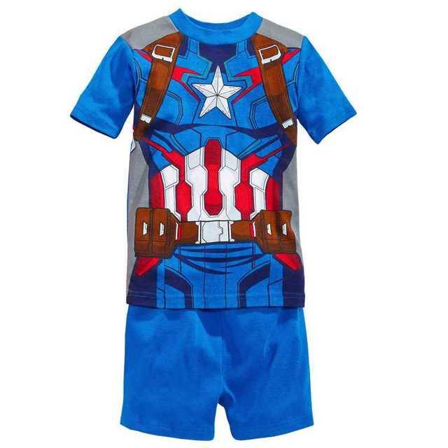 Дети пижамы комплект девочка в лето одежда комплект железо man100 % хлопок мальчик ...
