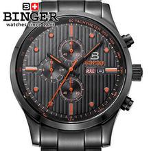 Marca Binger nuevo 2015 de lujo analógico deporte estilo militar acero negro relojes para hombre reloj suiza del ejército reloj de pulsera