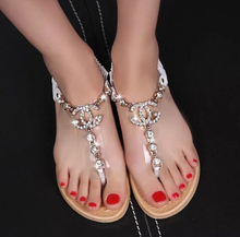 summer styles women sandals 2015 female channel rhinestone comfortable flats flip gladiator sandals party wedding shoes 7 color(China (Mainland))
