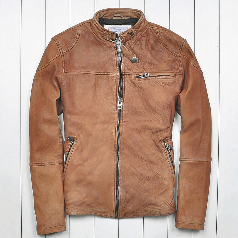 015 The new Yellow Distressed Australia Sheep skin Short paragraph Men's leather jackets Men's leather motorcycle(China (Mainland))