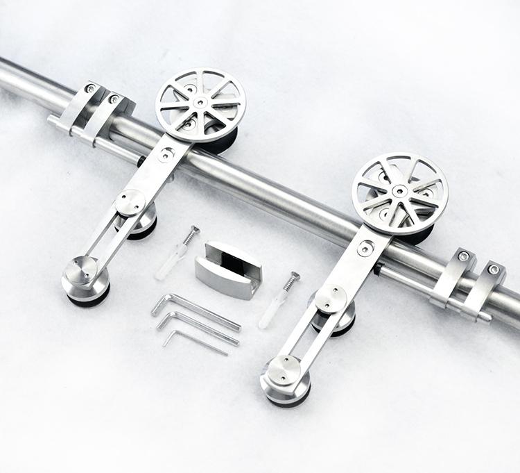 European style high quality stainless steel sliding barn wood door hardware sliding barn track hardware(China (Mainland))