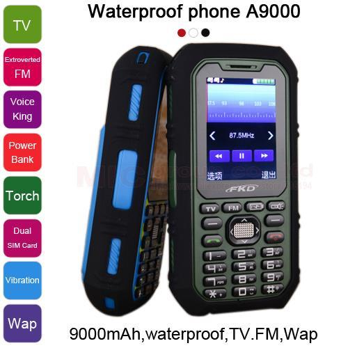 9000mAh long standby power bank torch TV FM voice king Vibration Dual SIM whatsapp cell Waterproof mobile phone A9000 P481(China (Mainland))