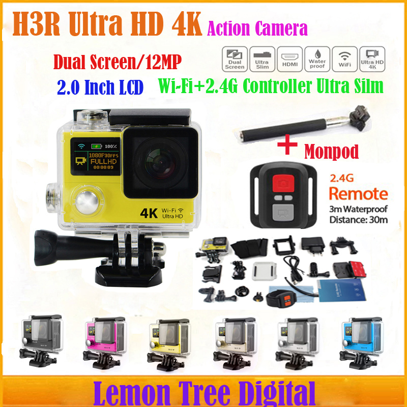 Singapore Post Action Camera H3R Ultra HD 4K Extreme Sports Helmet Camera Dual Screen With Remote Control Hero 4 Style+ Monopod<br><br>Aliexpress