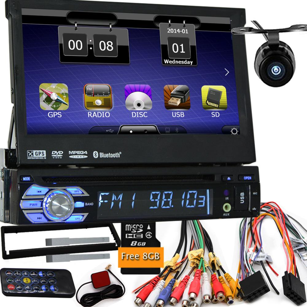 Camera with free shippment map car dvd gps player 1din universal GPS video Multimedia Bluetooth 7inch autoradio 1Din car gps nav(China (Mainland))