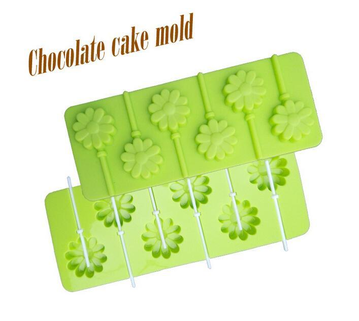 1PCS Flowers Shape Lollipop Silicone Mold, Jelly, Chocolate, Soap ,Cake Decorating DIY Kitchenware ,Bakeware L134(China (Mainland))
