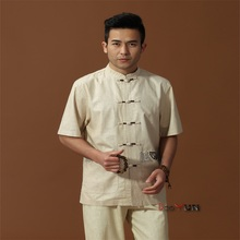 Discount Beige Men's Linen Shirt Top Chinese Novelty Kung Fu Tang Suit With Embroidery Free Shipping M L XL XXL XXXL(China (Mainland))