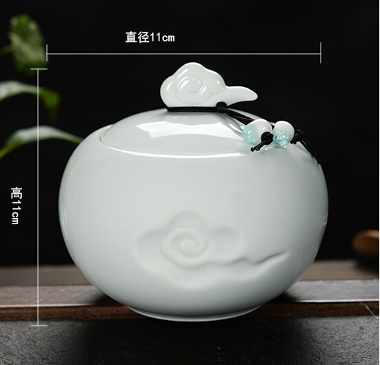 2015 style high quality white caddy ceramic storage food cans jar tea tools tea caddy 11*11cm box with lid(China (Mainland))