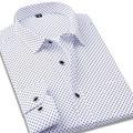 100 Cotton Polka Dot Men Casual Business Dress Shirt Brand Long Sleeve Males Slim Fit Stylish