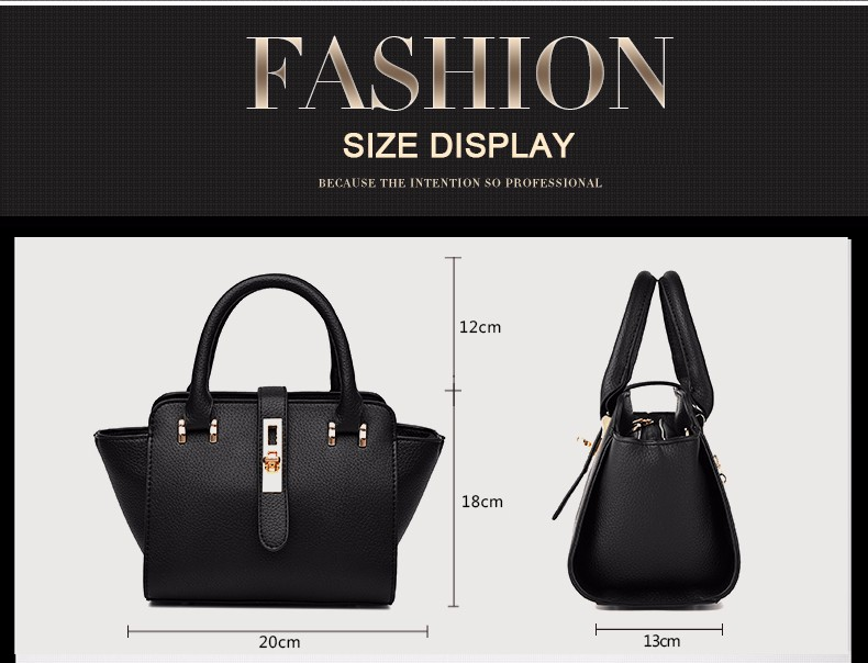 Classy Plain Hand Bag Lady PU Leather Small Handbag Succinct Belt Twist Lock Japan Style Fashion Women Embossing Shoulder Bag