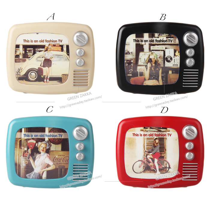 vintage tv machine plastic piggy bank photo frame coin. Black Bedroom Furniture Sets. Home Design Ideas