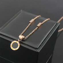 2015 high quality fashion fine jewelry black and white double shell BVL necklace crystal necklace for women men couple wedding(China (Mainland))
