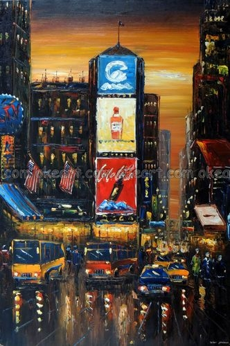 100% hand painted Times Square Sunset New York City Street Manhattan Shops Taxi Oil Painting free shipping High quality(China (Mainland))