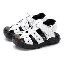 קיץ ילדים בני נעלי 1-4 שנים תינוק רומי סנדלי בני ילדי החלקה מקרית סנדלי שחור לבן ילד חוף נעלי חור נעל(China)