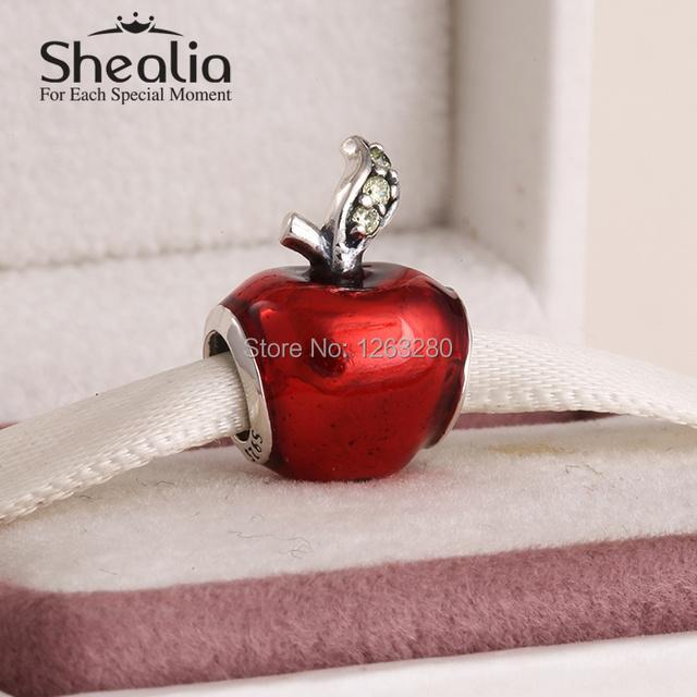 Весна снег белый apple подвески-талисманы с эмаль и cz 925 чистое серебро ювелирные изделия подходит своими руками подвески браслет SH0638