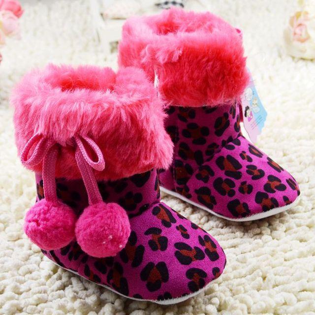 Мода леопарда девочки снегоступы зима из замши мягкой подошвой младенческой малыша ...