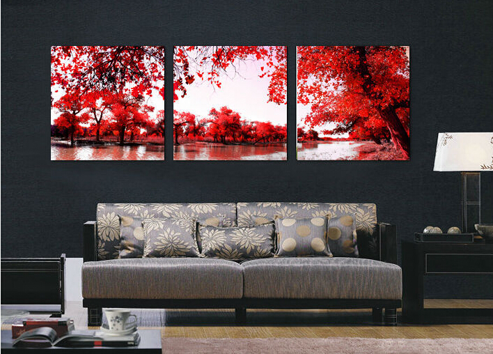Wall Art Red Leaves : Panel red autumnal leaves home decorative canvas