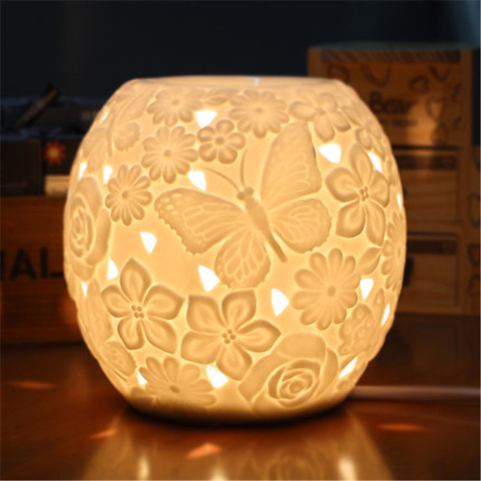 hollow white matt finished porcelain incense burner electric ceramic oil burner warmer lamp(China (Mainland))