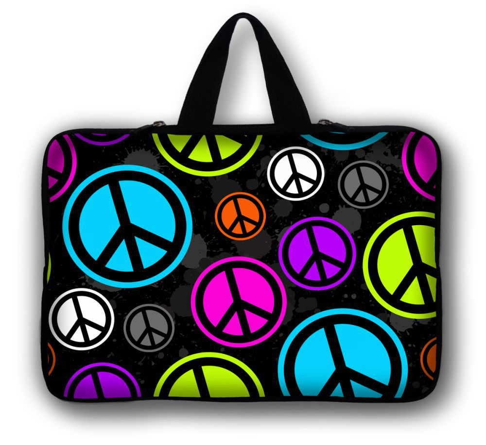 "12"" Peace Sign Laptop Soft Carry Sleeve Bag Case For Samsung Google 11.6"" Chromebook,11.6"" Samsung ATIV Smart PC 500T 700T(China (Mainland))"