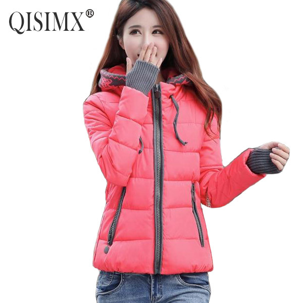 QISIMX 2015 Winter Coat Women Fashion Down Jacket For Woman Printed Hoodie Coat Casual Candy Color Casaco Feminino Warm Parka(China (Mainland))
