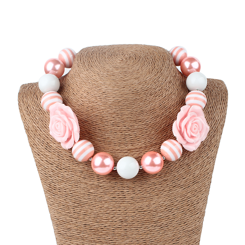 Free Shipping Pink Colored Roses Flowers Charm Decorated Chunky Jewelry Necklaces 2PCS/Lot Toddler Kids Bubblegum Necklaces(China (Mainland))