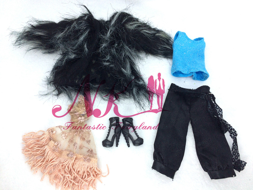 NK One Set  Princess Luxurious Outfits Attractive Coat Shoe Scarf Modern Garments For Barbie Doll Lady Finest Reward Child Toys