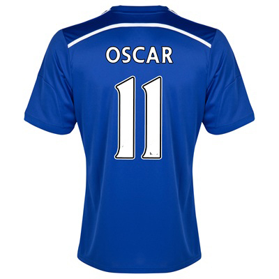 14-15 New Arrival Chelsea 11 Oscar Top Thailand quality soccer jersey Home Men short sleeve Free Shipping(China (Mainland))