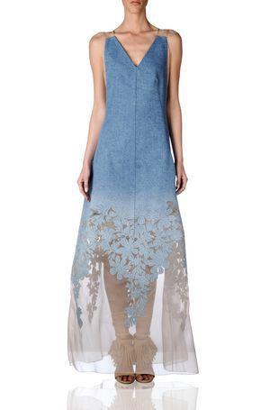 OSCAR NINE Top Brand Women Blue Lace Denim Long Bohemian Beach Sleeveless Long Dress Female Designer Clothes Summer Clothing(China (Mainland))