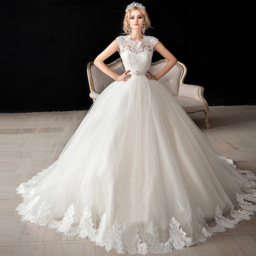 Russia Style Ivory Lace Bridal Dresses 2017 Puffy Ball Gown Wedding Gowns Backless Chapel Train Sash Cap Sleeve Z506(China (Mainland))