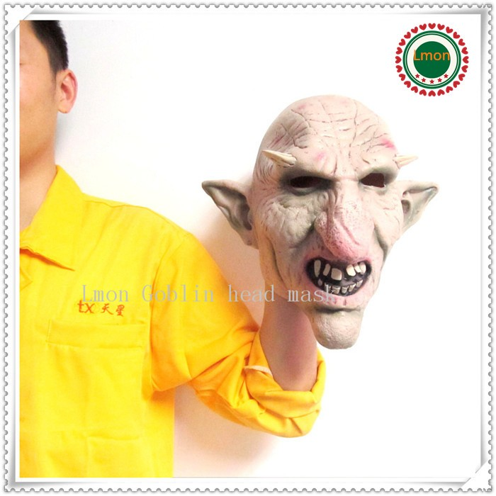 Free shipping 100% Latex Halloween Party Cosplay Creepy Goblin Mask Head For Cosplay and Costome, Scary Horror Mask in stock