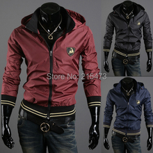 New Arrive Autumn Man Slim Thin Jacket Coat Man Fashion Casual Plus Size 3Colors Hoodies Short Slim Solid Jacket Man Overcoat(China (Mainland))