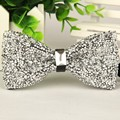 Hand made mens bowtie Silver crystal and gem bow tie 2016 new arrival gentlemen fashion casual