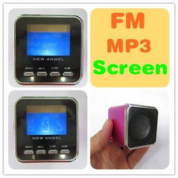 Portable MP3 Speaker LCD Display Screen FM Digital Music TF 3.5 USB Stereo German French Italian Spanish Russian Polish Language