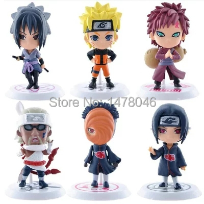 Free Shipping 6pcs Full Set Q Edition Naruto Anime Action Figures Collection PVC Naruto Figures Model toy Set Action Figure Toys(China (Mainland))