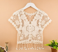 2014 lace tassel air conditioning shirt hollow out short  mock  sweater