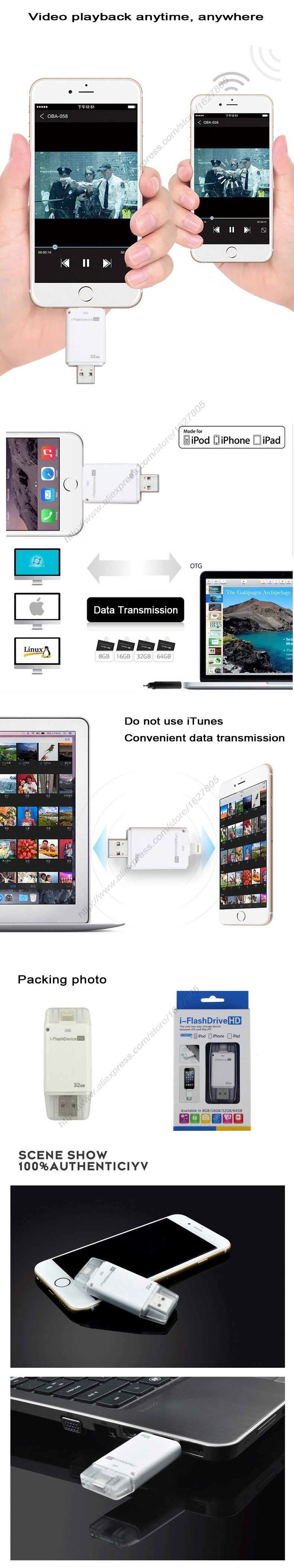 i-Flashdrive Smartphone Otg USb Pen Drive Lightning/Usb Flash Drive For iphone 5/6/6plus ipad Built-in Memory Card Usb Stick