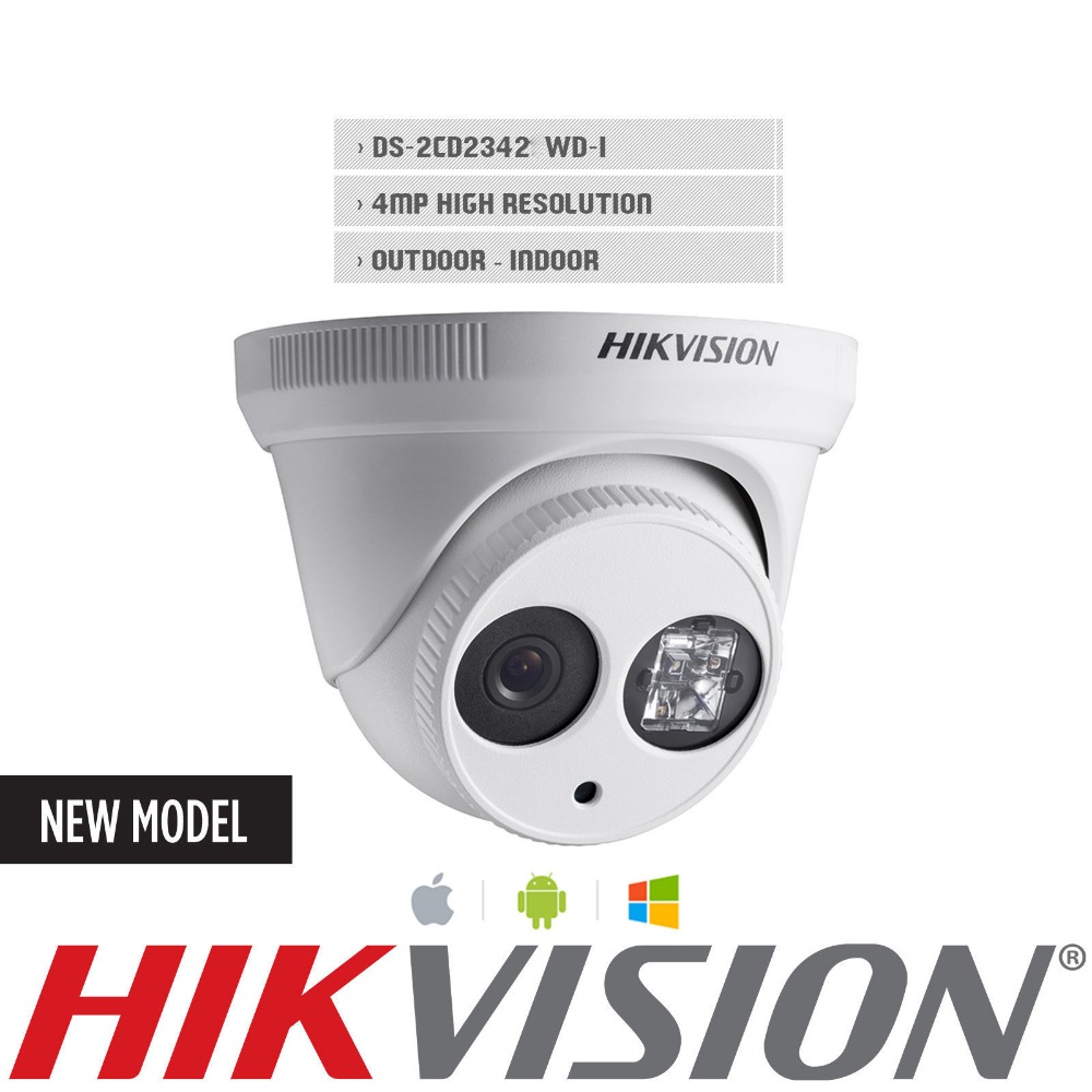HIK English version Camera DS-2CD2342WD-I 4MP 4mm Security Camera support update H.264 Free Ship from USA IP Dome Camera(China (Mainland))