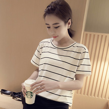 Buy 2017 Feminina Camiseta Mujer Best Friends T Shirt Women Clothes Striped Patchwork Loose Tops Women Clothing Poleras De Muje for $2.86 in AliExpress store