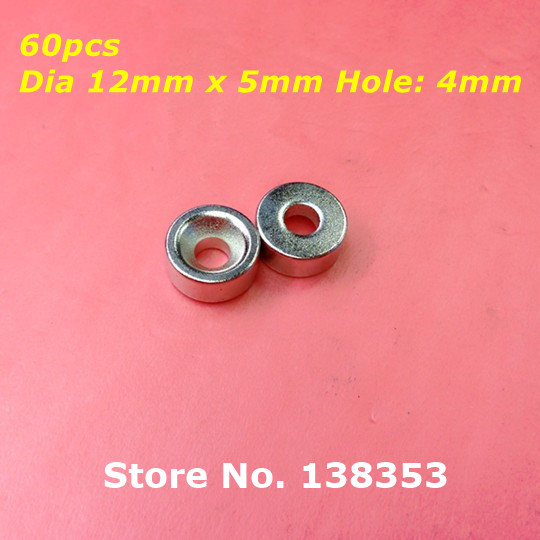 Гаджет  Wholesale 60pcs Super Strong Neodymium Countersunk Ring Magnets Dia 12mm x 5mm With Hole 4mm N35 Small Round NdFeB Magnet None Строительство и Недвижимость