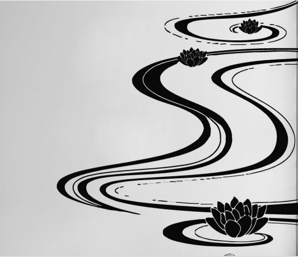 Lutos Vinyl Wall Decal Yoga Lotus Water Indian Home Decor Mural Art Wall Sticker Yoga Studio Beauty Salon Bedroom Decoration