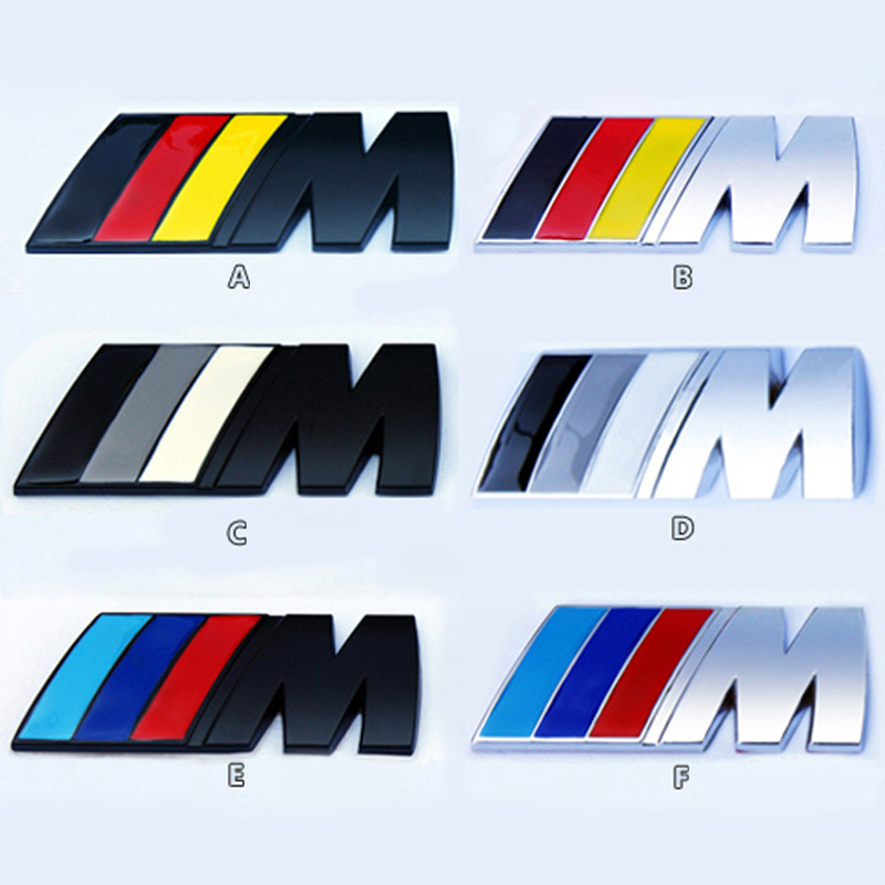 6 Colors Mpower M-tech Car Trunk Badge Emblem 3D Pure Metal Front Hood Grille Sticker ///M M3 M5 for BMW Car Styling Sticker(China (Mainland))
