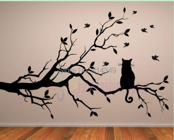 Cat thinking tree Wall stickers decoration decor home decal fashion cute bedroom living waterproof sofa family diy gift - cc 414349 store