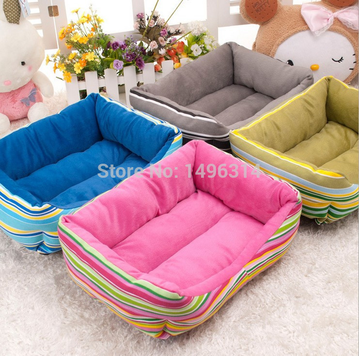 Colorful Rainbow Pet Beds Soft Cat Nest PP Cotton Padded Dog House Waterproof Bottom plush dog bed(China (Mainland))