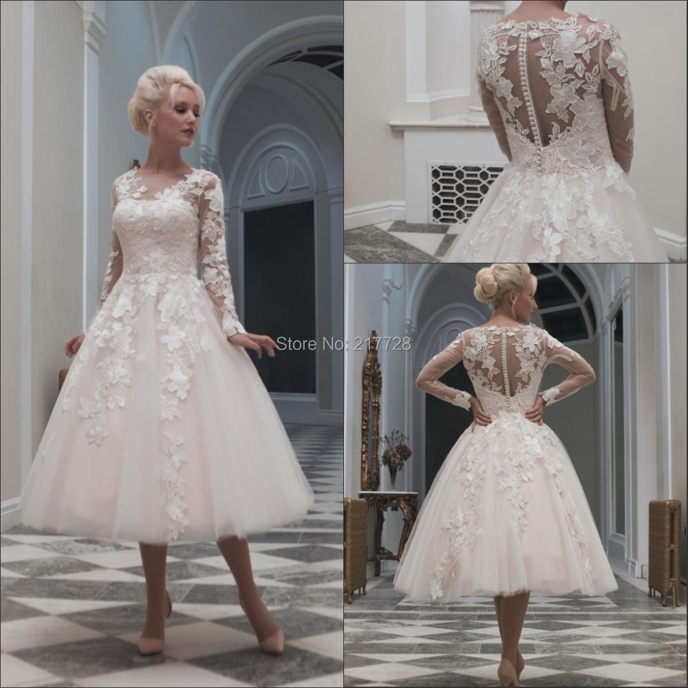 Vintage Wedding Dress Short : Com buy fashionable short wedding dresses long sleeves vintage