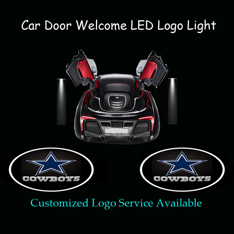 2pcs Dallas Cowboys Logo Car Door Welcome Ghost Shadow Puddle Spotlight  Laser Projector LED Light (