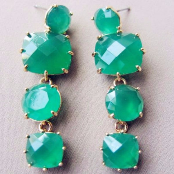 Brinco Classic Pendientes 2016 New Arrival Luxury brand Simple green earring for Women Jewelry Wholesale(China (Mainland))