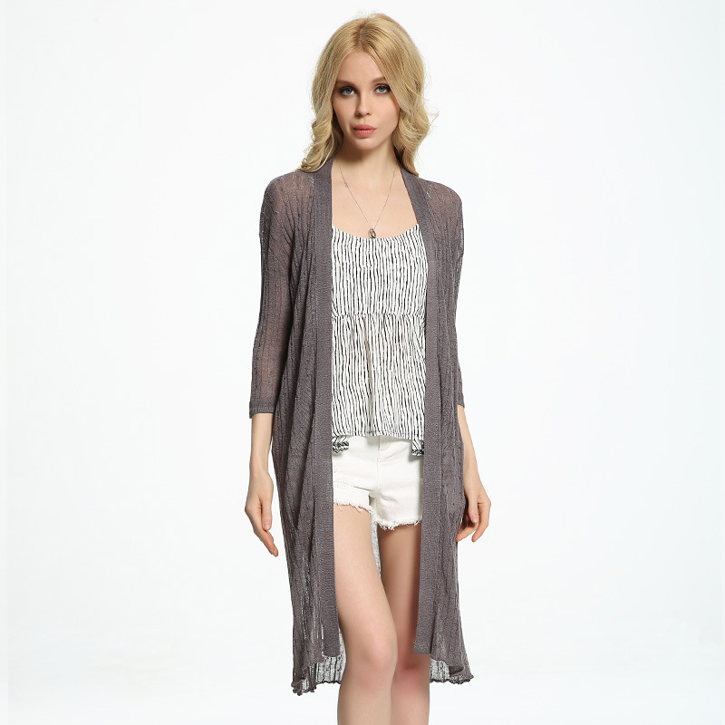 Summer New Loose Linen Knitted Long Cardigans Casual Pure Color One Size Elegant Fashion Quality Brand Women Sweaters(China (Mainland))