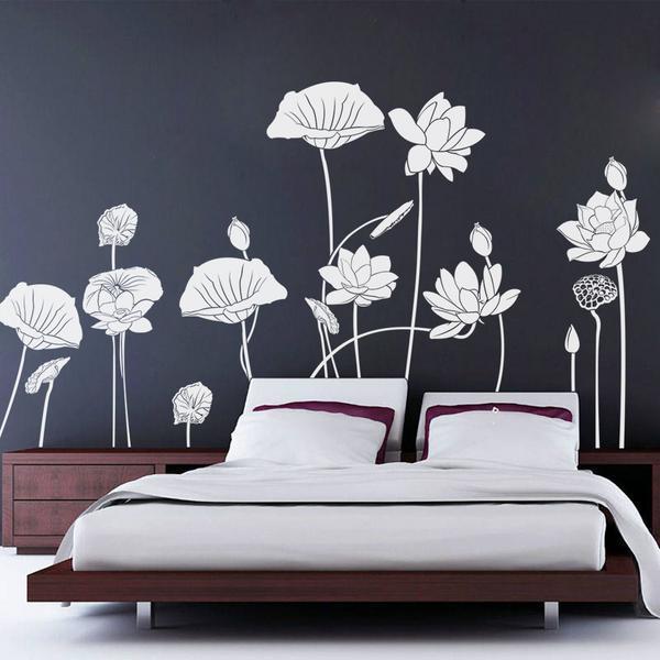 Цветок лотоса стикер стены спальня винная наклейка искусства diy украшения дома съемные пвх на стены обои
