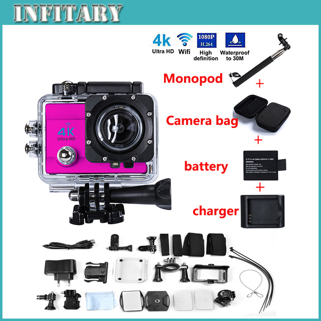 Sports camera WIFI 1080P 2.0 inch 170 degree 30M waterproof Charger and Monopod + Carrying bag+Extra Battery free shipping(China (Mainland))